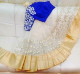 White flora saree