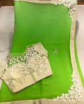 Green Flower saree